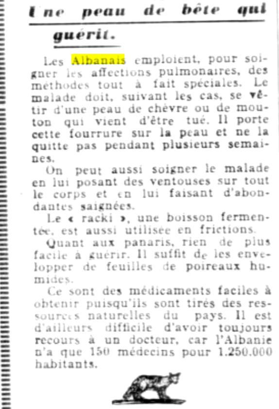 Les Etoiles (1946) / Shqiptarët dhe mjekësia tradicionale, metodat e tyre për tu kuruar. – Nga Aurenc Bebja (Francë)
