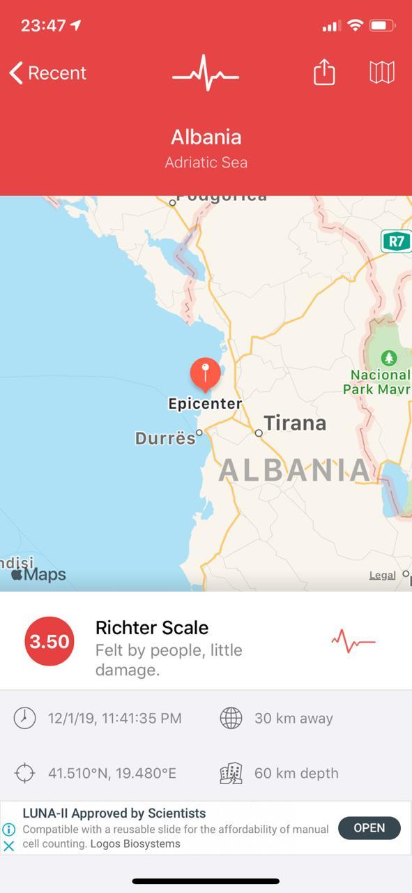Tërmet tjetër sapo goditi Shqipërinë