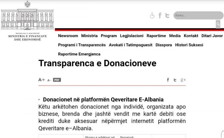 Sa donacione janë mbledhur pas tërmetit, Ministria e Financave hap dritaren e posaçme ku secili mund t'i verifikojë në e-albania