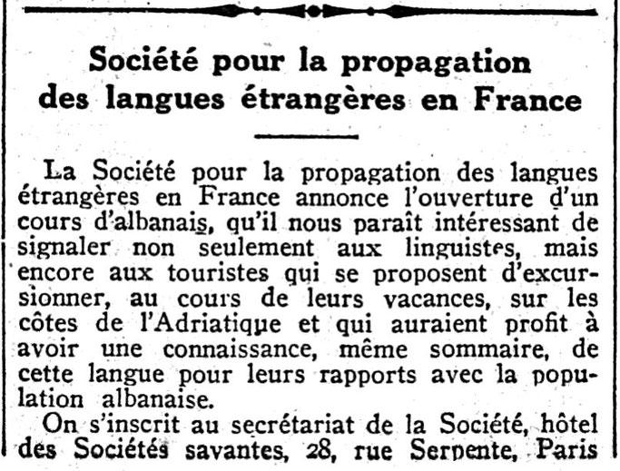 Journal des débats politiques et littéraires (1939) / Për të mësuar gjuhën shqipe në Paris, mund të regjistroheni në këtë adresë