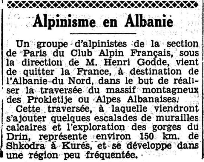 Le Petit Journal (1937) / Ekspedita e alpinistëve francezë në alpet shqiptare