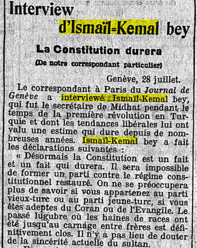 """Ismail Qemali – korrespondetit të Journal de Genève, në Paris : """"Rikthimi i Kushtetutës nga Sulltani është një fakt që do të zgjasë."""""""